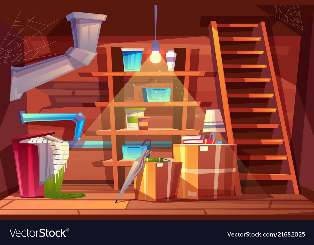 Cellar interior cartoon storage in