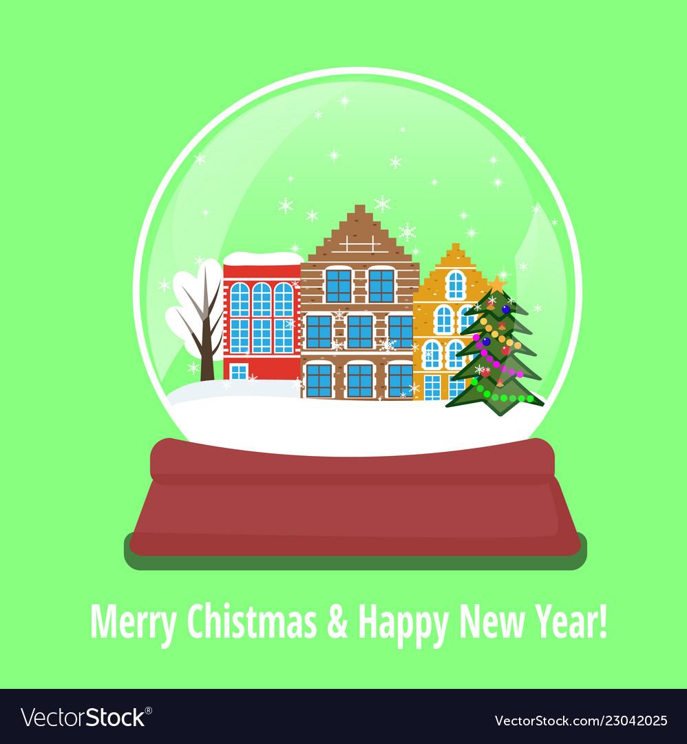 Christmas snow globe with amsterdam houses