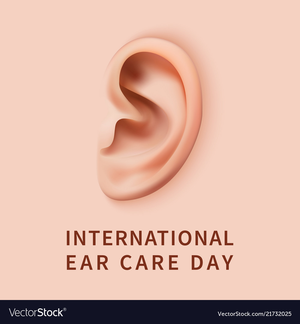 Ear care day concept background realistic style