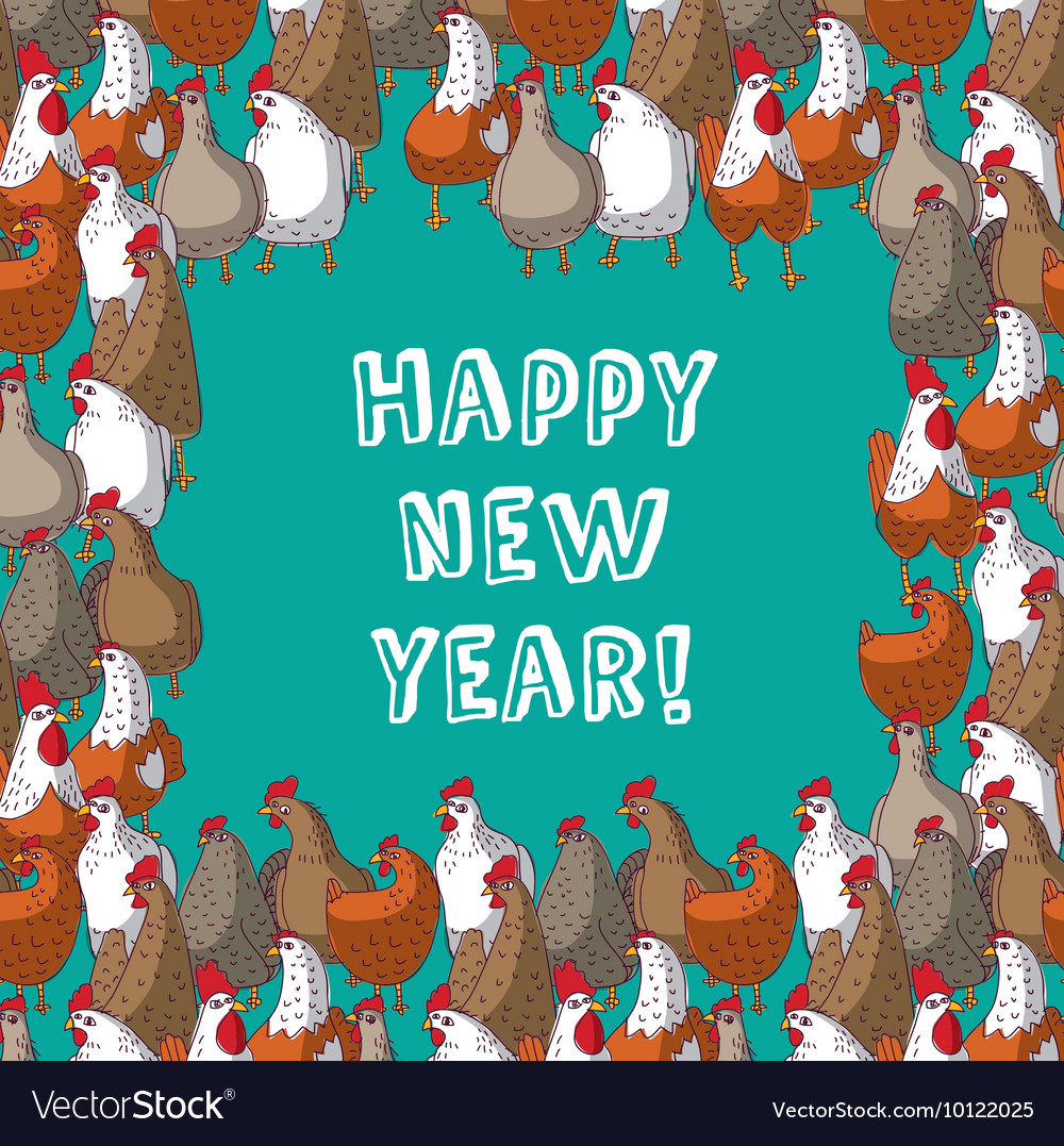 frame color chicken border new year greeting card vector image