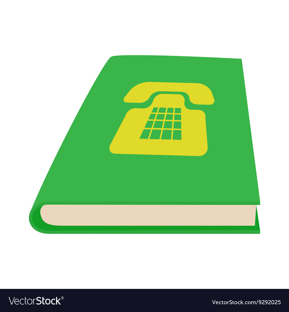 Green phone book icon cartoon style
