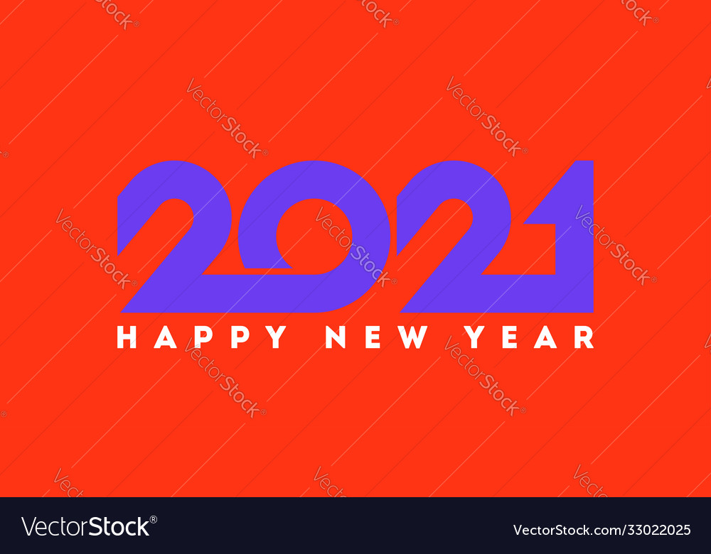 Happy new year 2021 logo with purple numbers