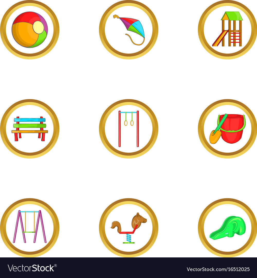 Kid playground icon set cartoon style vector image