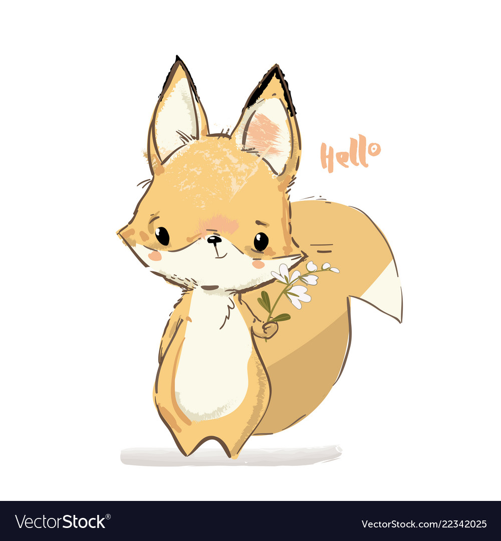 Little fox with flowers