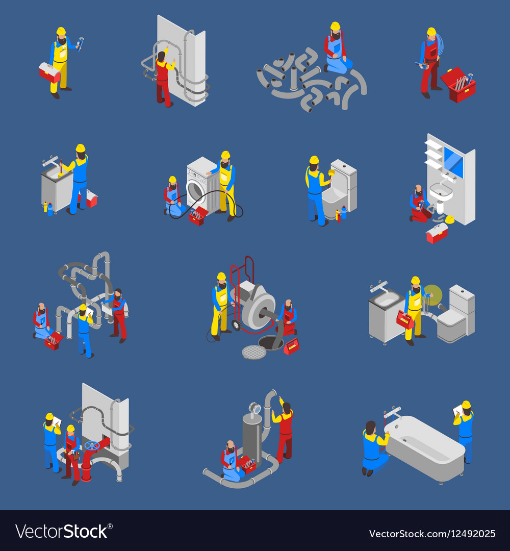 Plumber Isometric People Icon Set