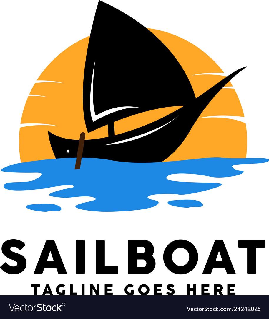 Sailboat with sunset logo design inspiration