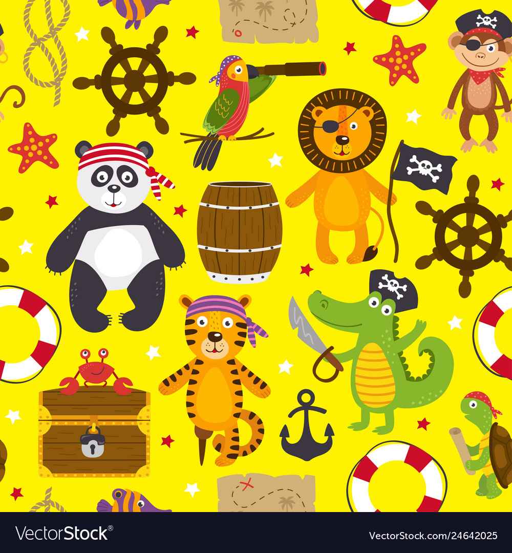 Seamless pattern with pirates animals