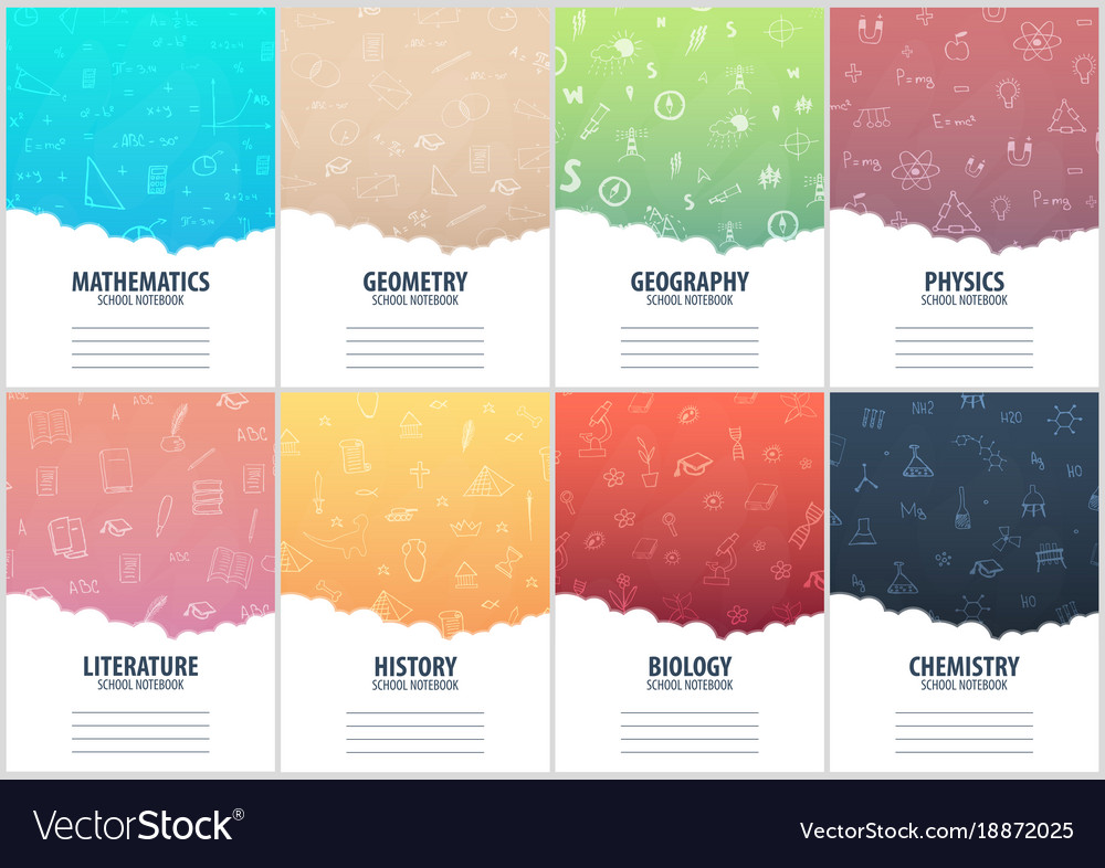 Set of banners school notebook template back to