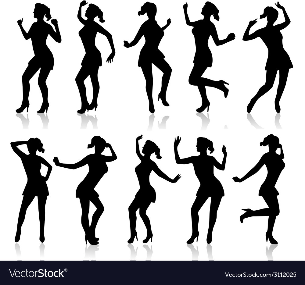 Silhouettes of a dancing woman vector image