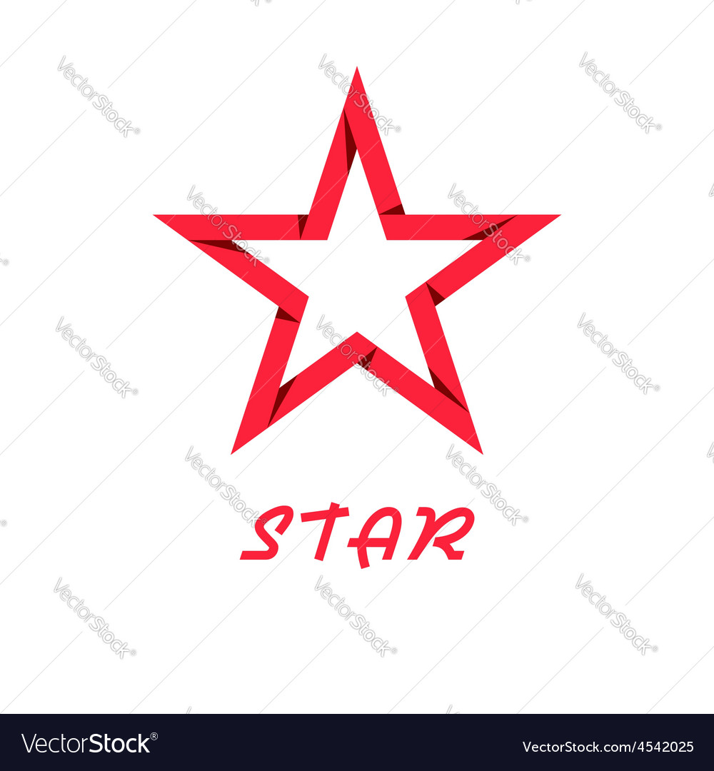 Star red of paper design logo web icon