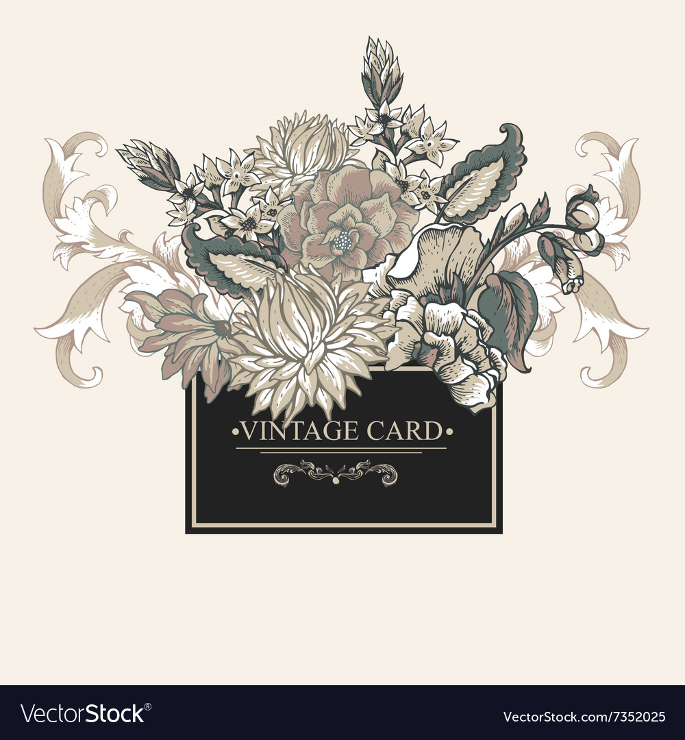 Vintage baroque greeting card with swirls flowers