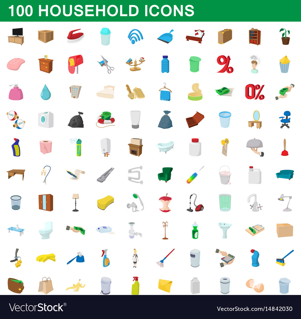 100 household icons set cartoon style