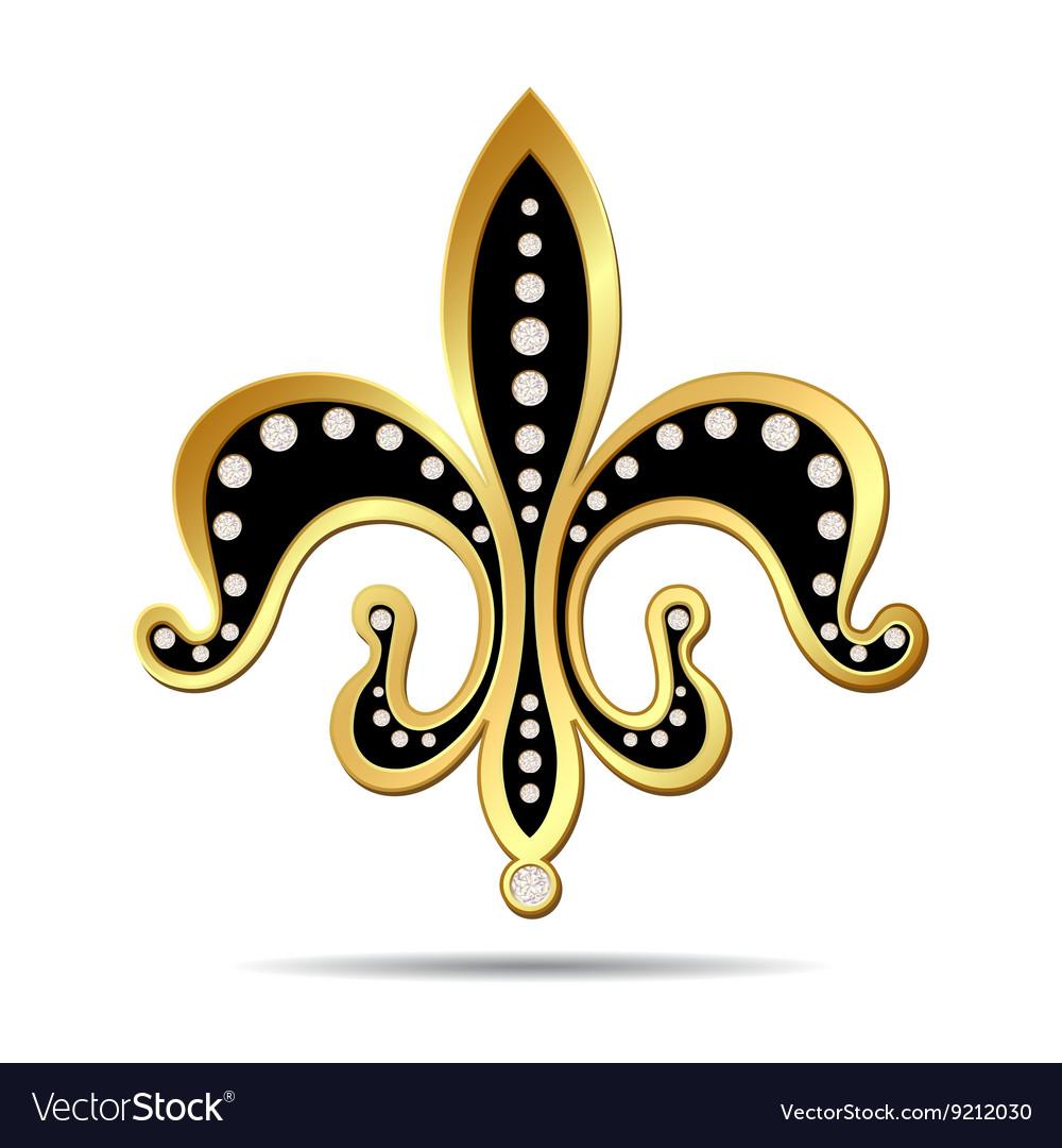 Black fleur-de-lis with a gold rim