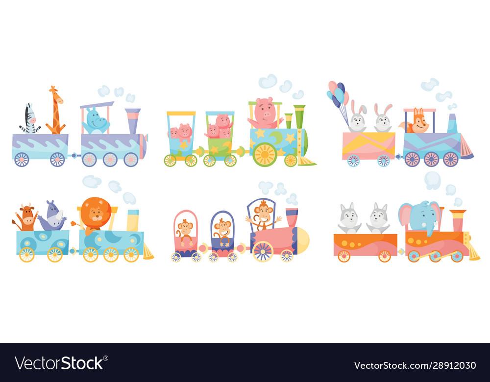 Cartoon set with different animals on trains fox