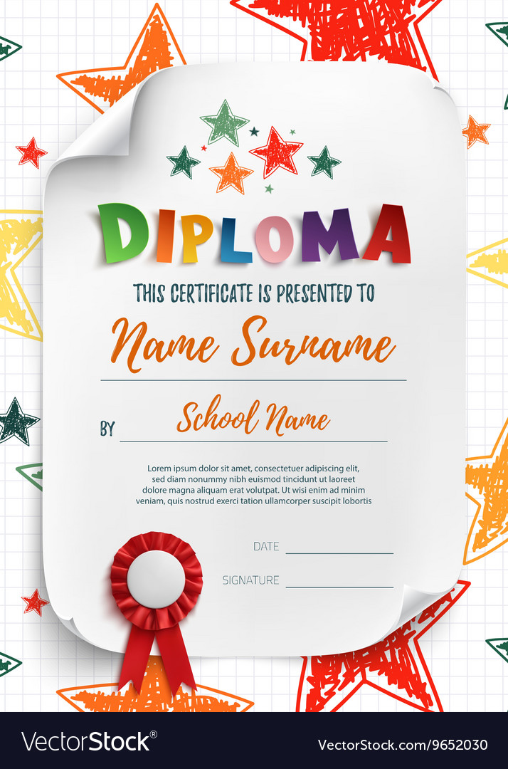 Diploma Template With Hand Drawn Stars Royalty Free Vector
