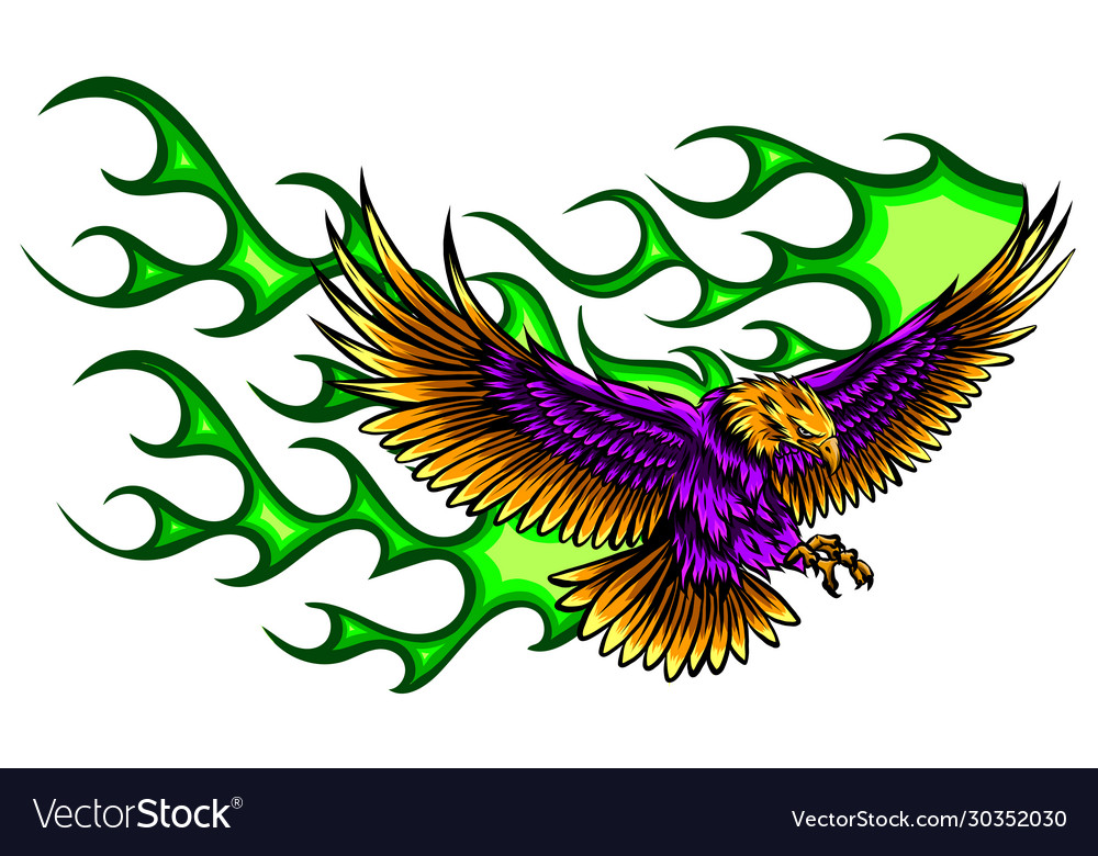 Flaming eagle - vehicle graphic ready for vinyl