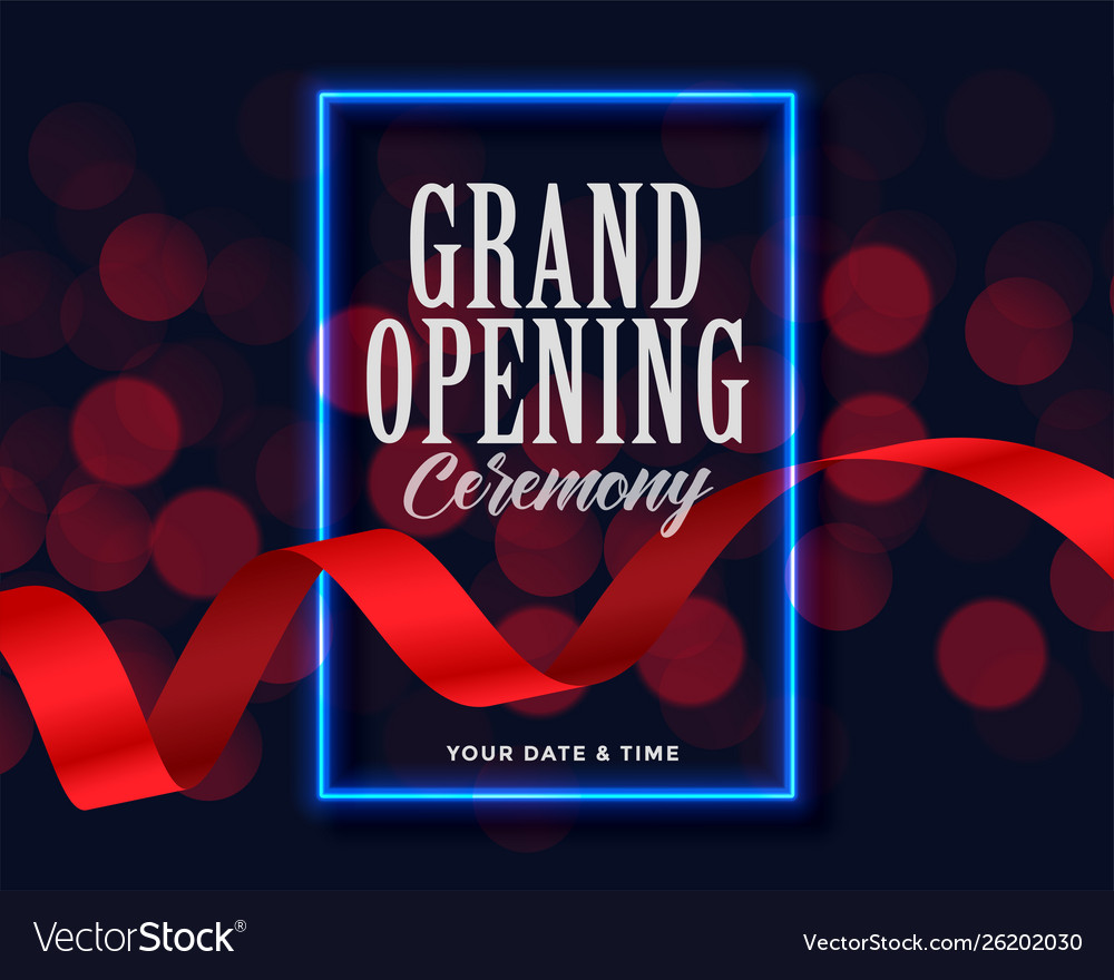 Grand opening template with ribbon and bokeh