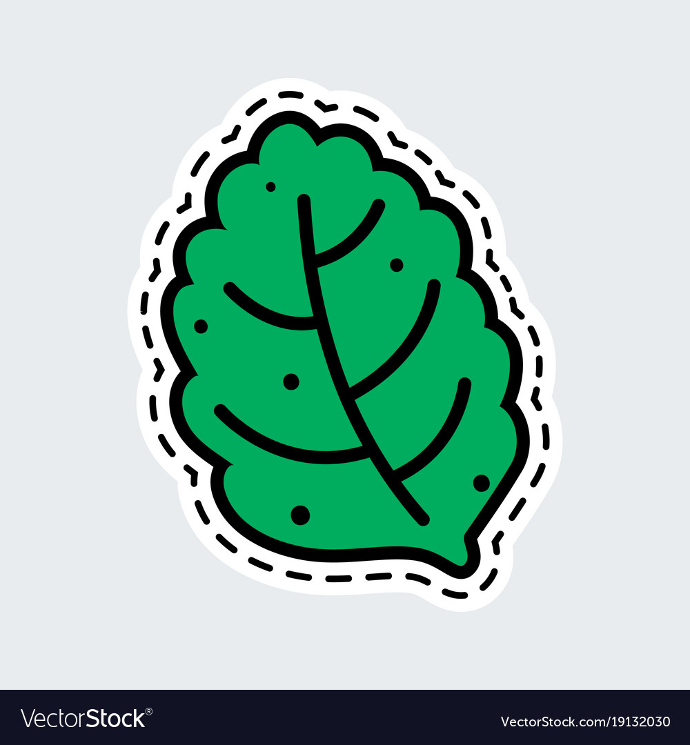 Green leaf in patch style clip art for sticker or