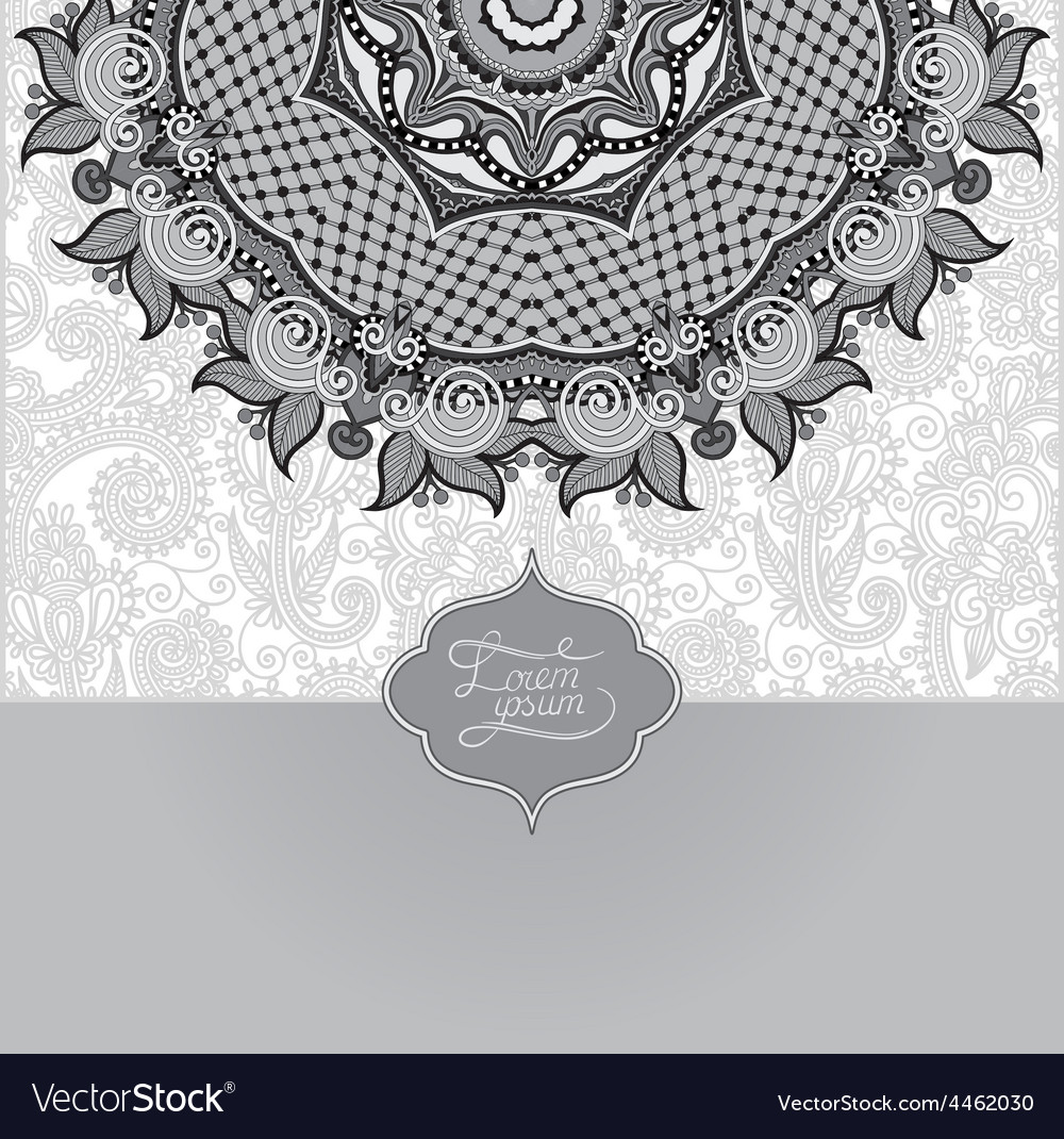 Grey islamic vintage floral pattern template