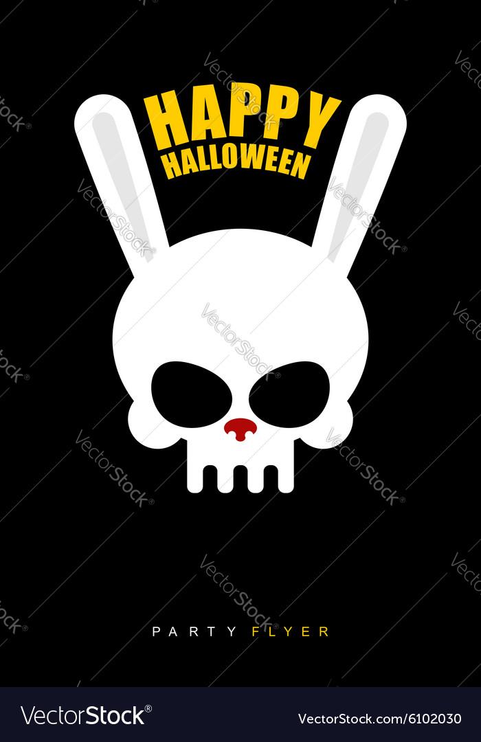 Happy Halloween Rabbit skull on black background