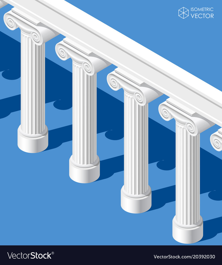 Isometric white classic ancient colonnade on blue