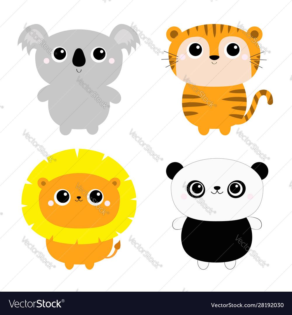 Koala lion panda bear tiger ftoy icon set kawaii