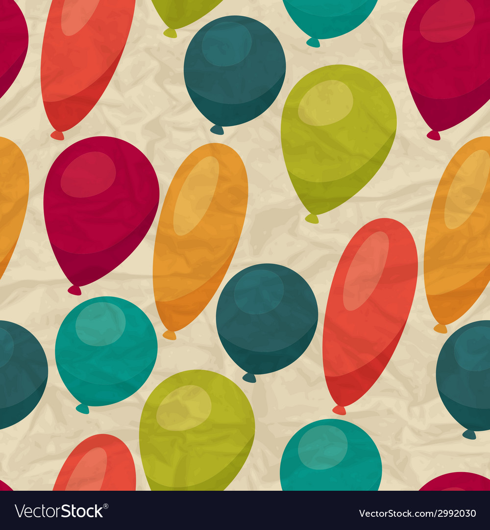 Seamless pattern with balloons on crumpled paper