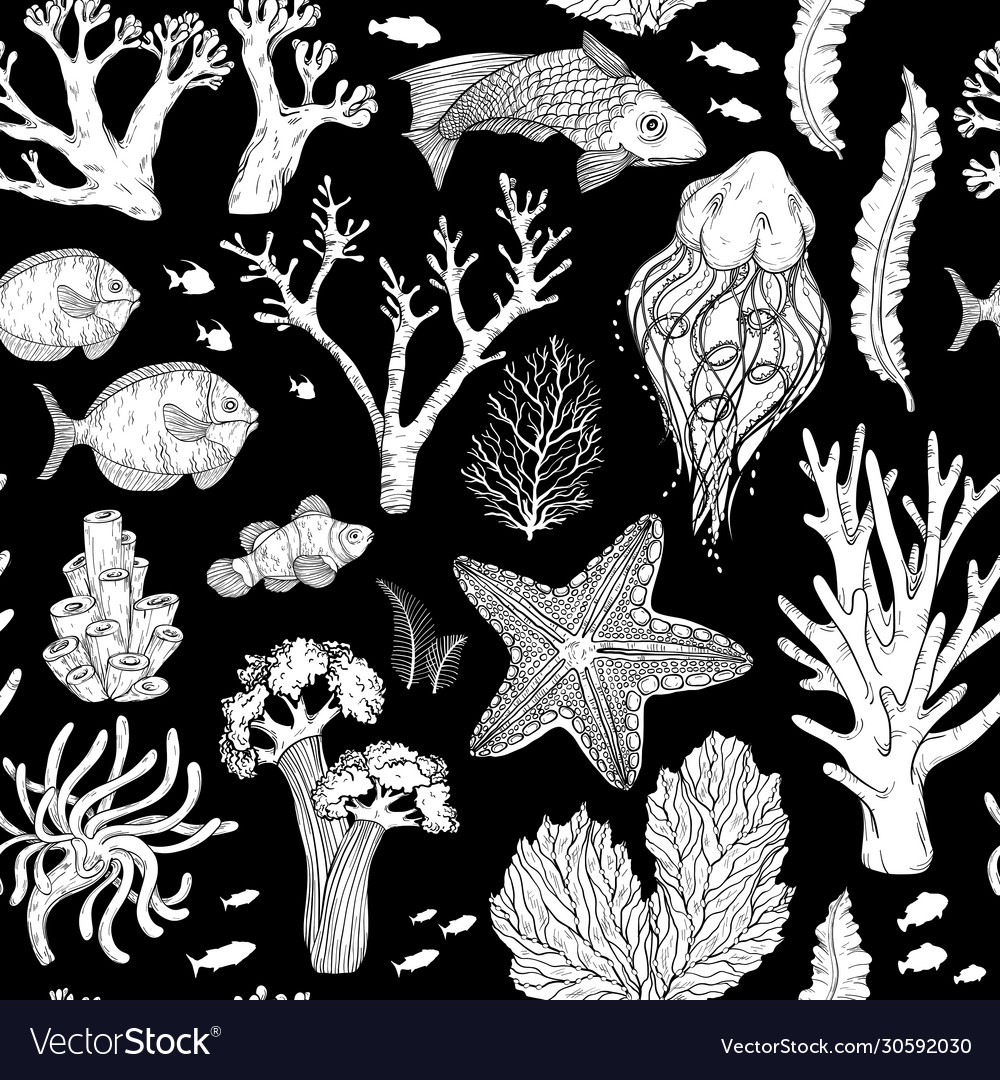 Seamless pattern with black and white deepwater