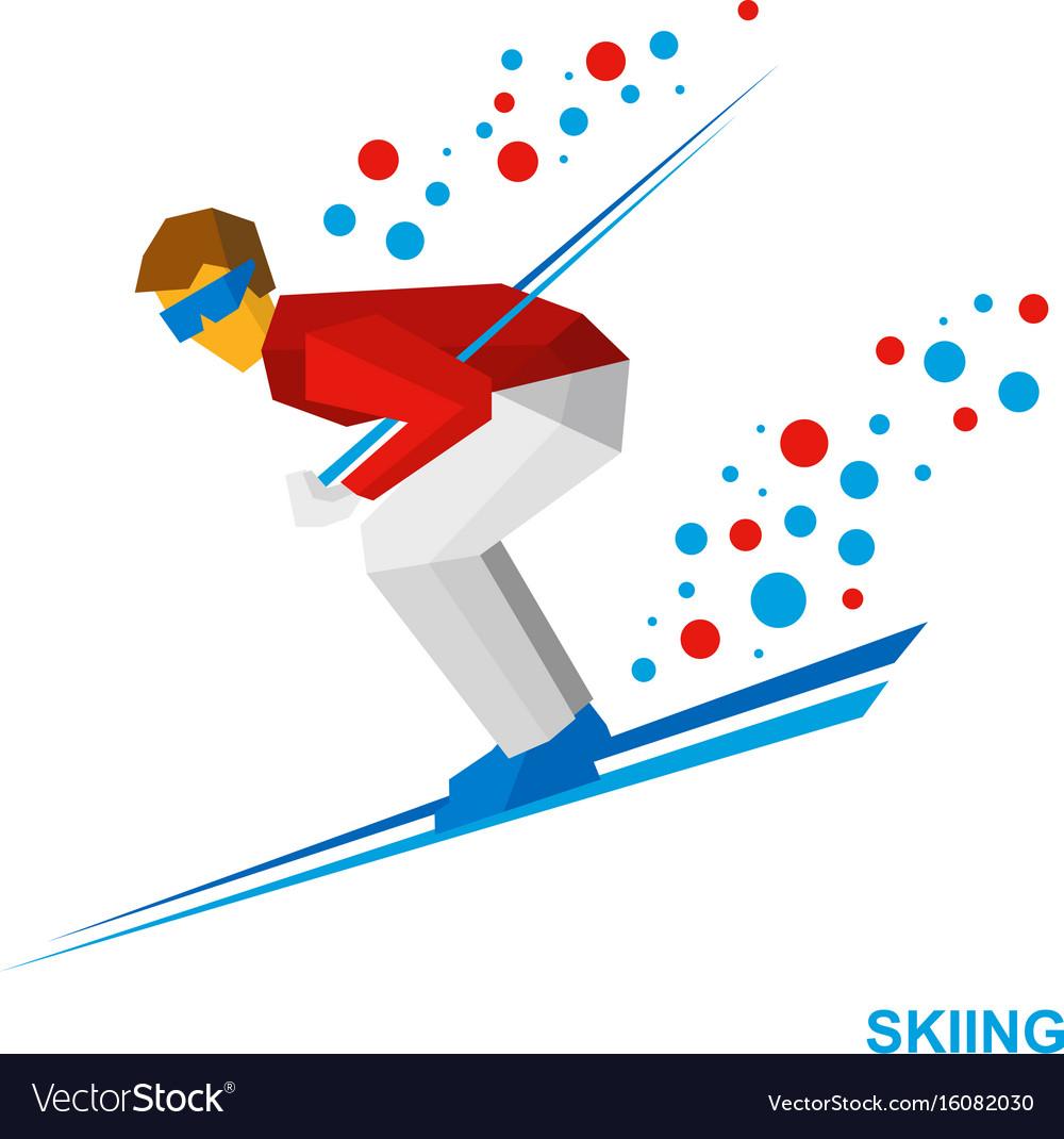 Skiing cartoon skier running downhill