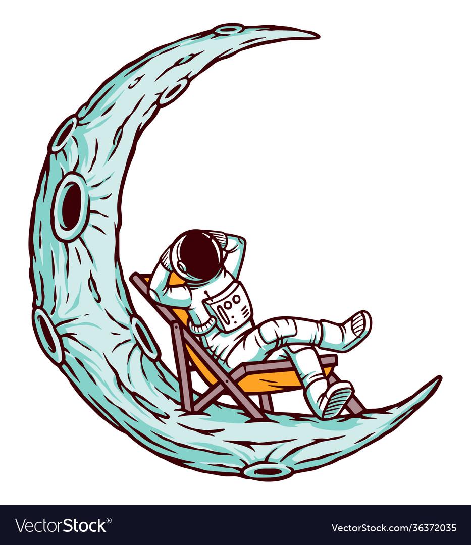 Astronaut relaxing on moon