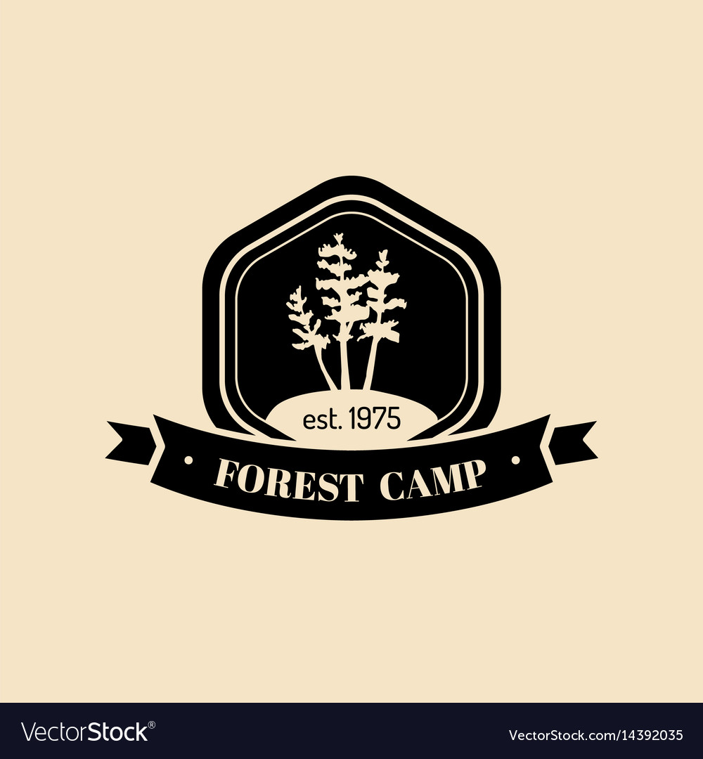 Authentic camp logo tourist sign with hand vector image