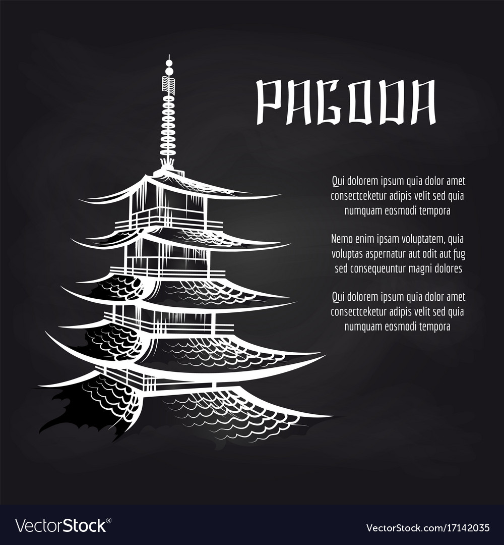 Blackboard poster with asian pagoda