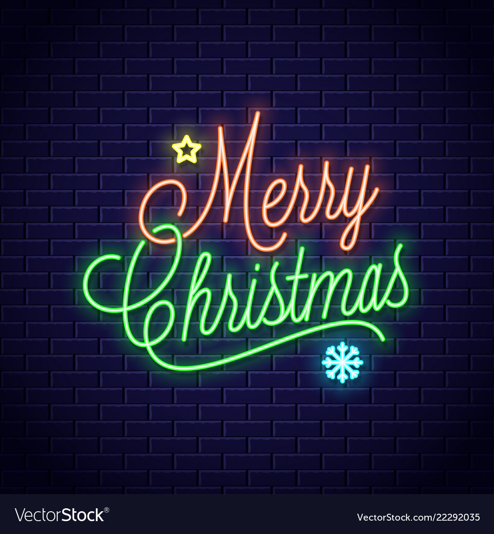 christmas neon lettering with merry xmas vintage vector 22292035
