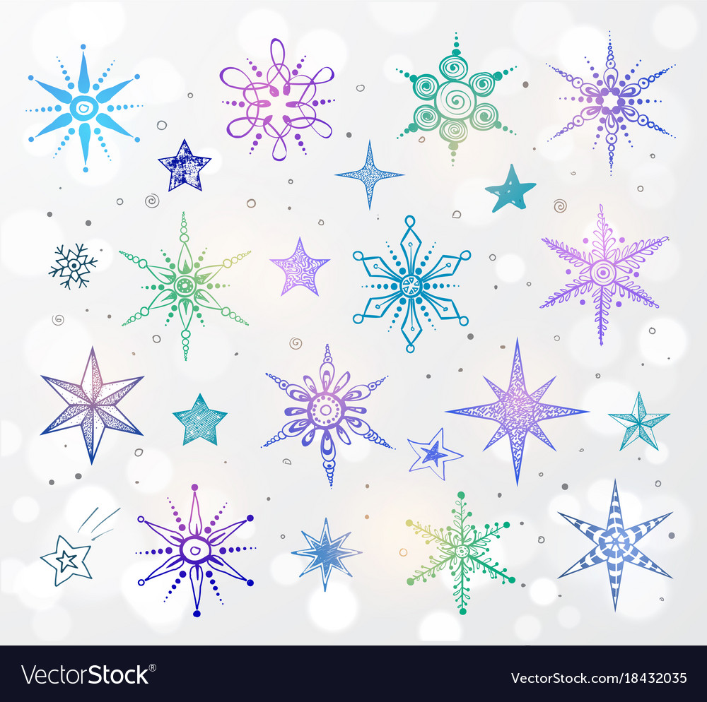 Doodle blue and violet snowflakes on white glowing