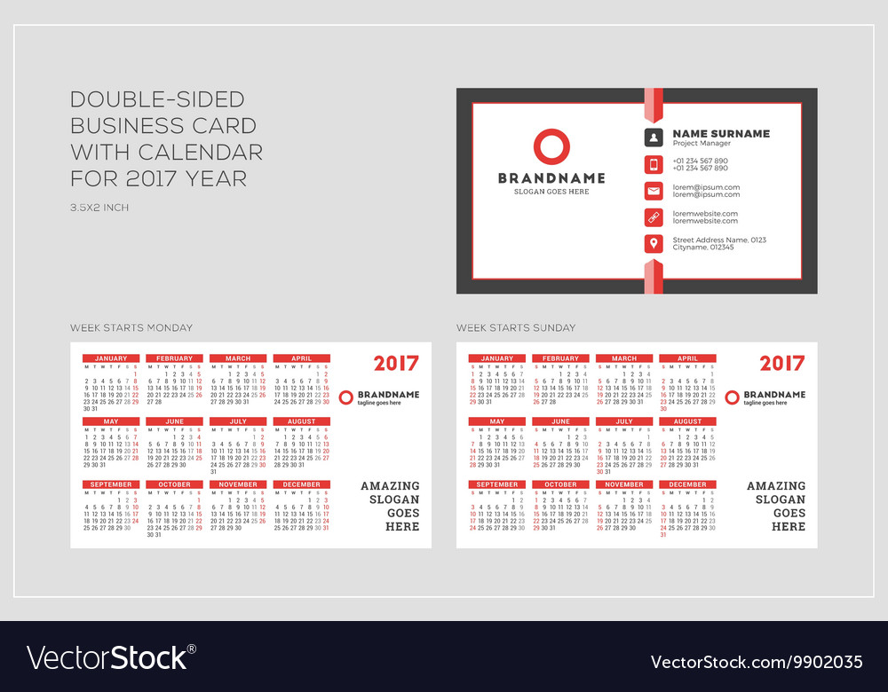 Double sided business card template with calendar vector image fbccfo Choice Image