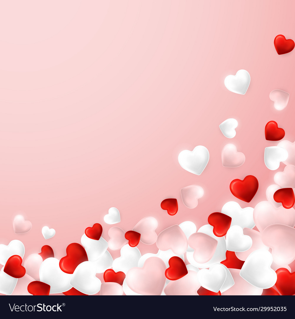 Happy valentines day background flying red pink