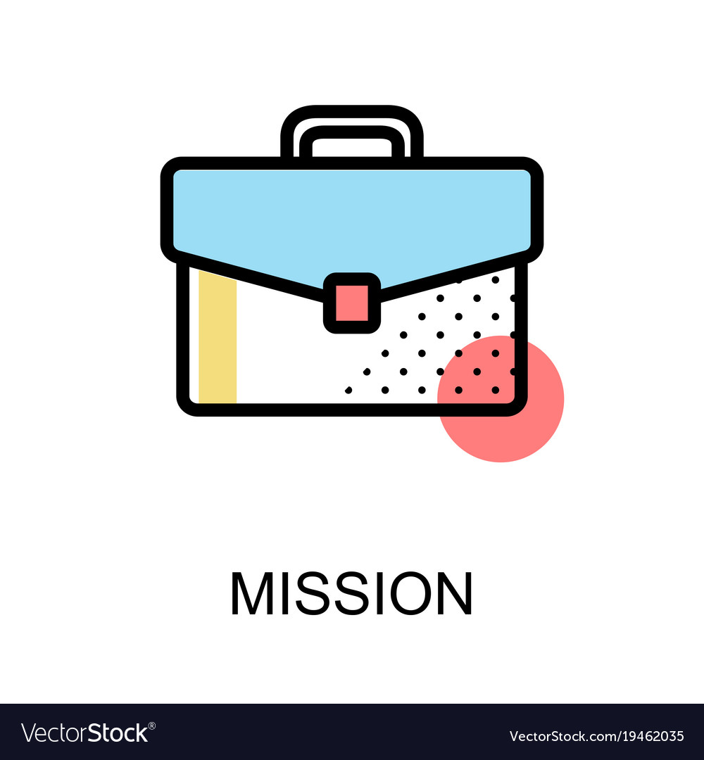 Mission icon with briefcase on white background