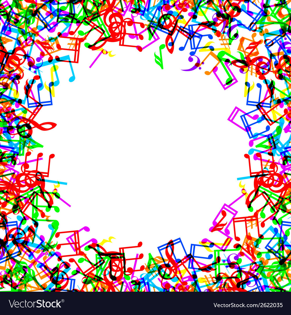 Music notes border frame Royalty Free Vector Image