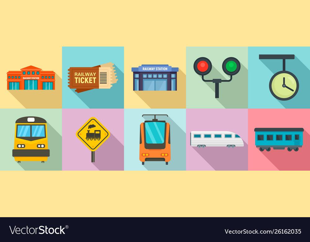 Railway station icons set flat style
