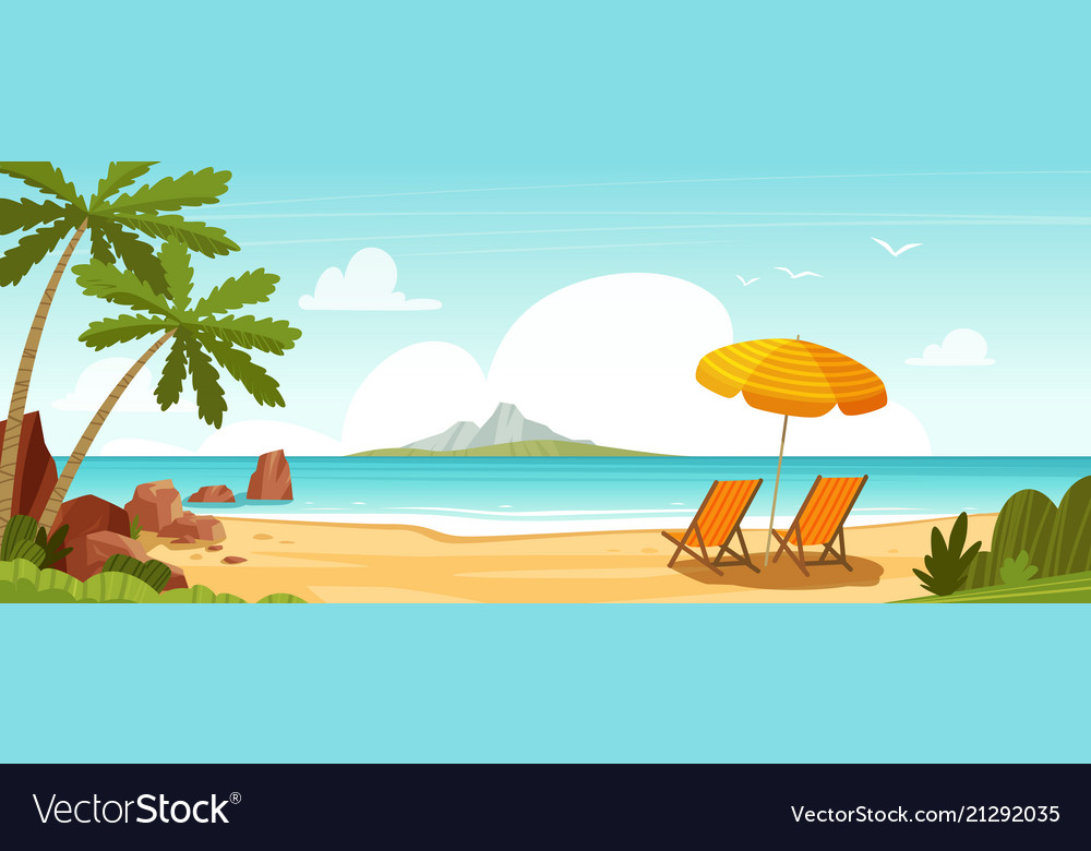 Sea beach and sun loungers seascape vacation