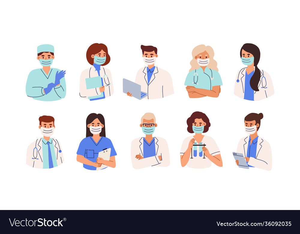 Set doctors nurses and paramedics in face