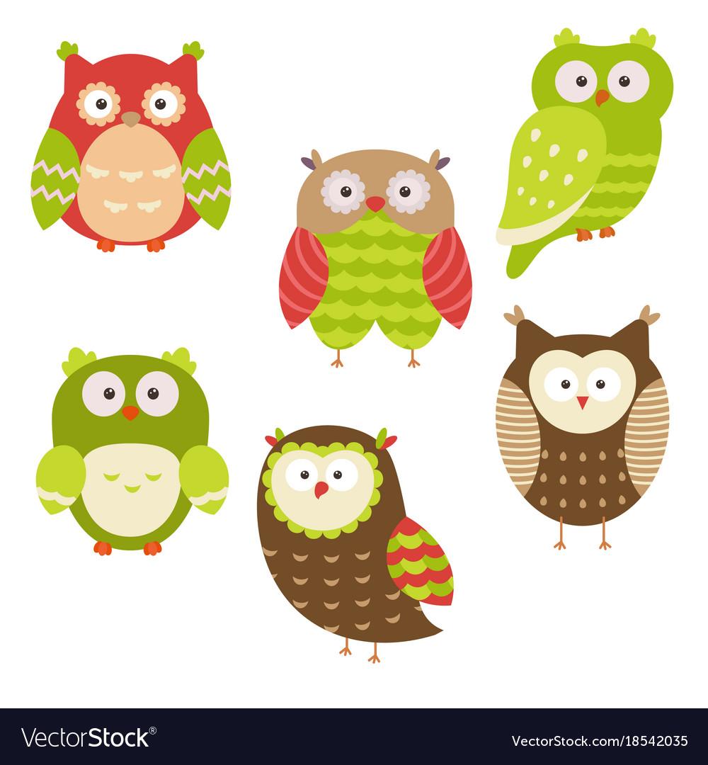 set of christmas owls set of christmas owls vector image - Owl Christmas