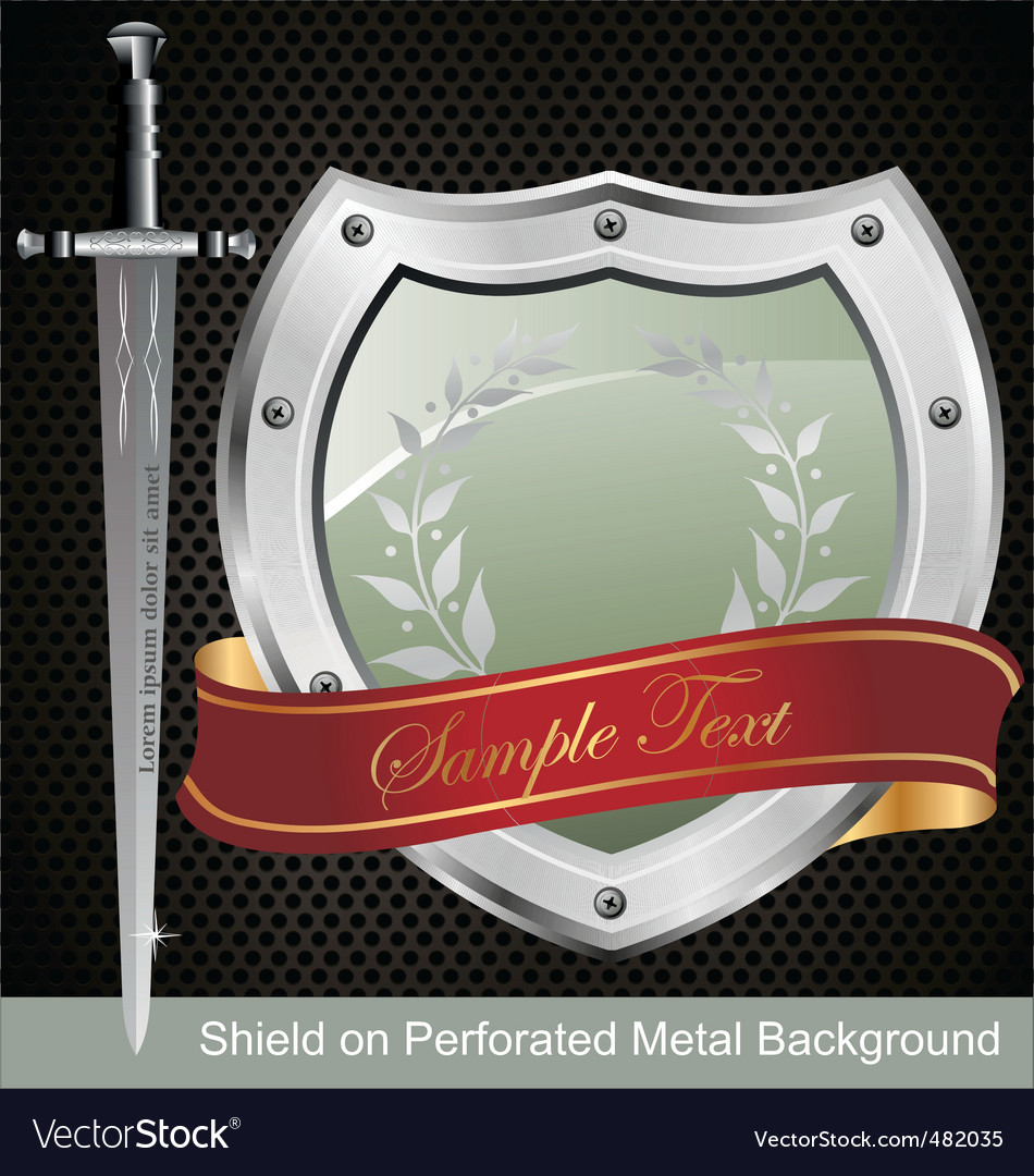 Shield on perforated metal background
