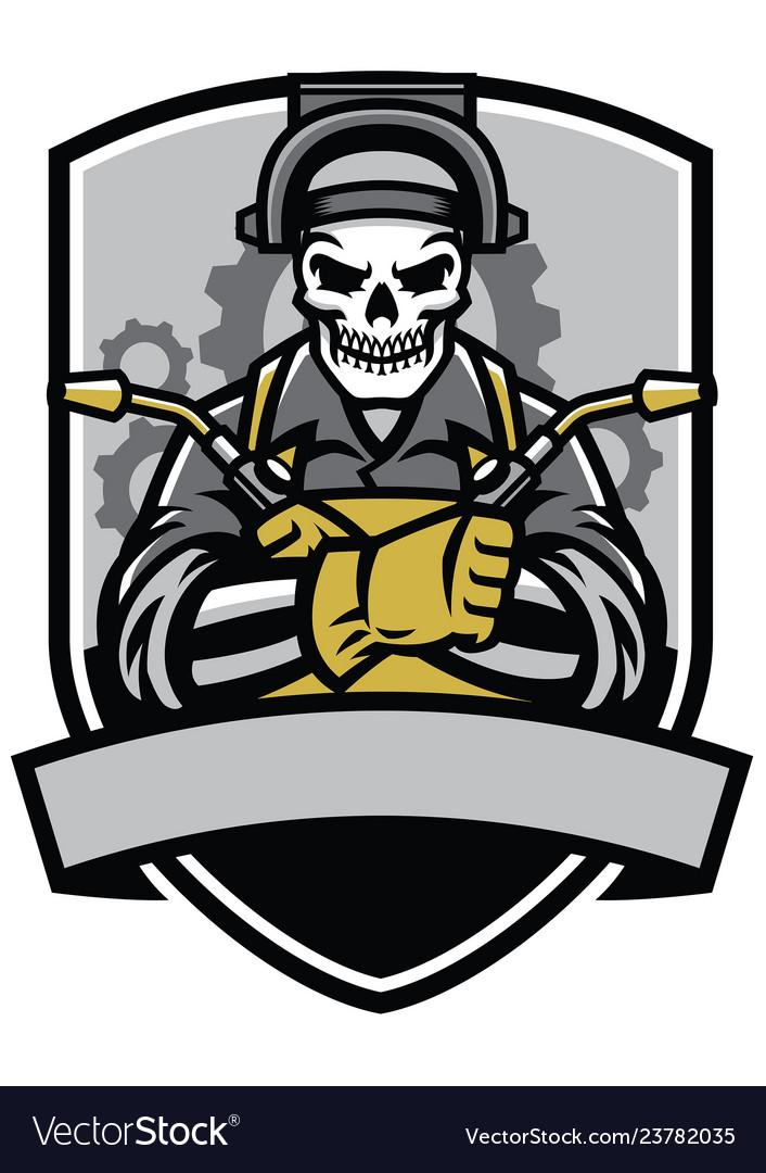 Skull Welder Badge Royalty Free Vector Image Vectorstock