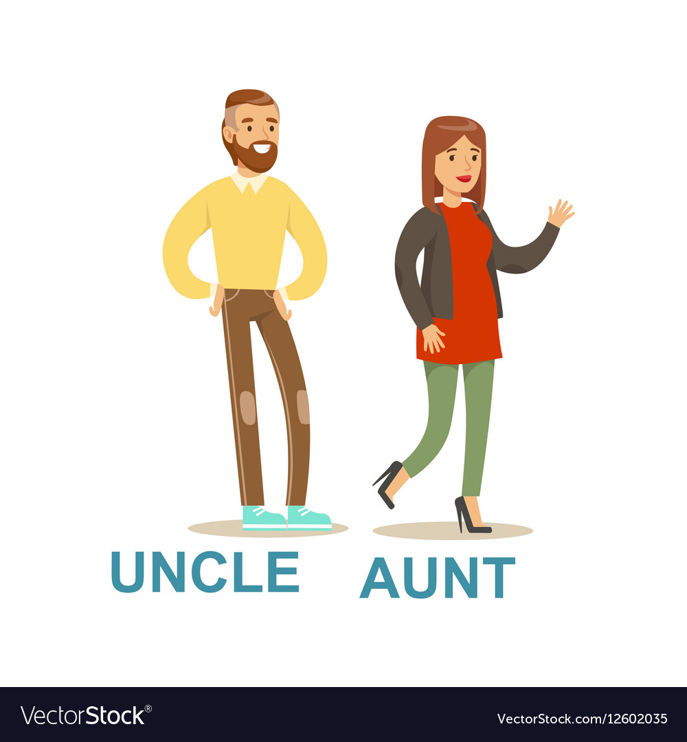 Uncle And Aunt Happy Family Having Good Time Vector Image