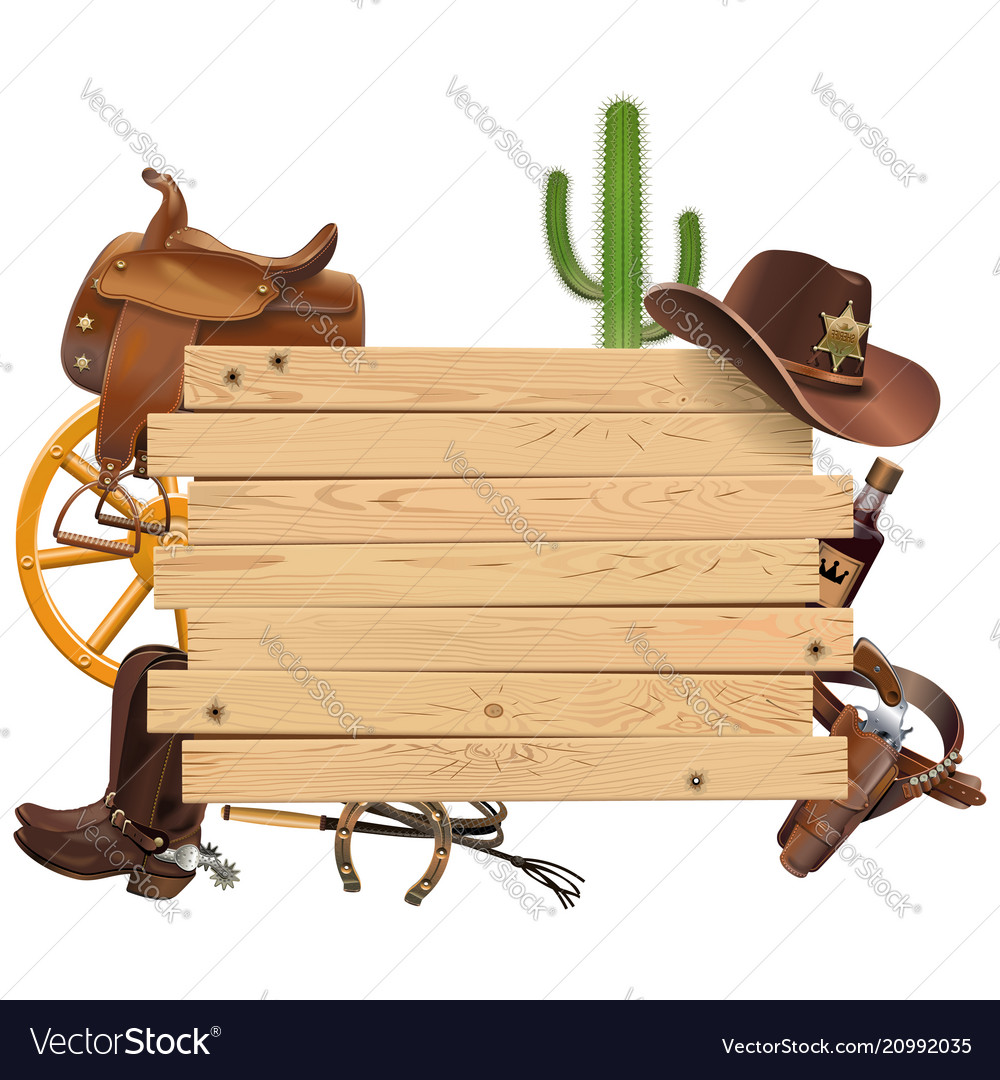 Western board with cowboy accessories