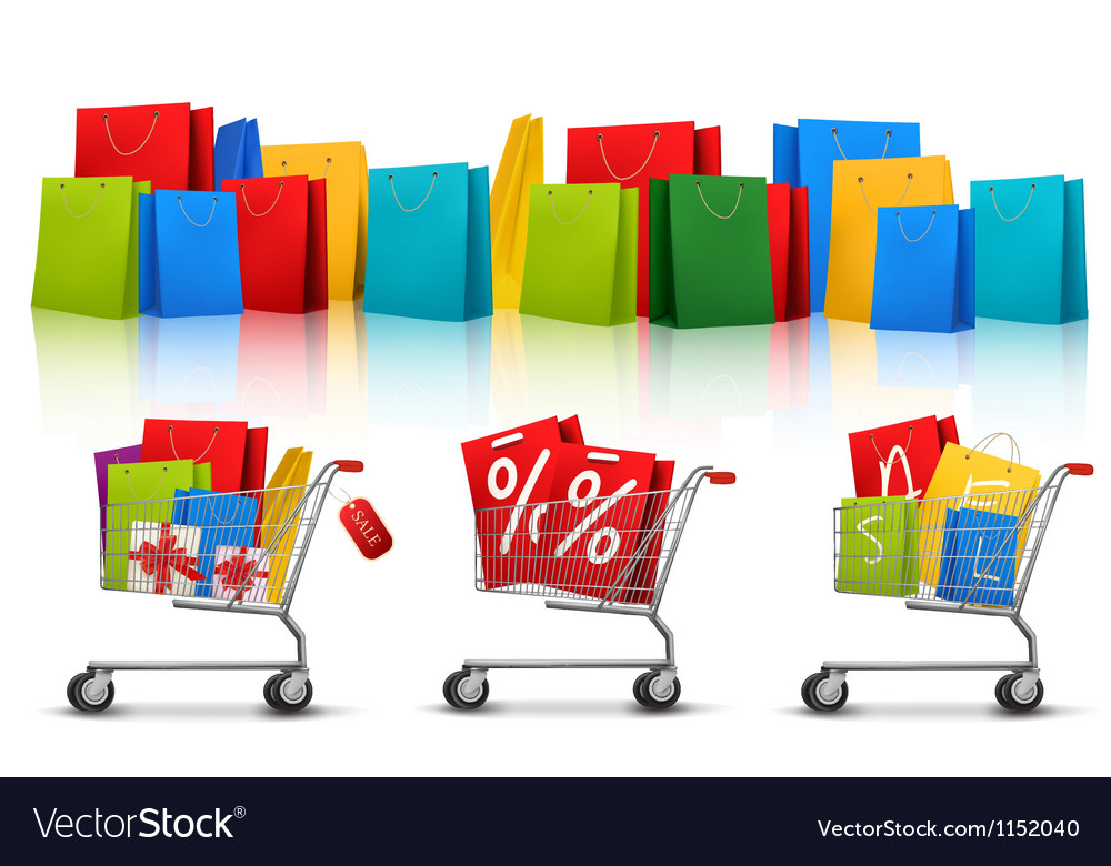 Background with shopping color bags and shopping