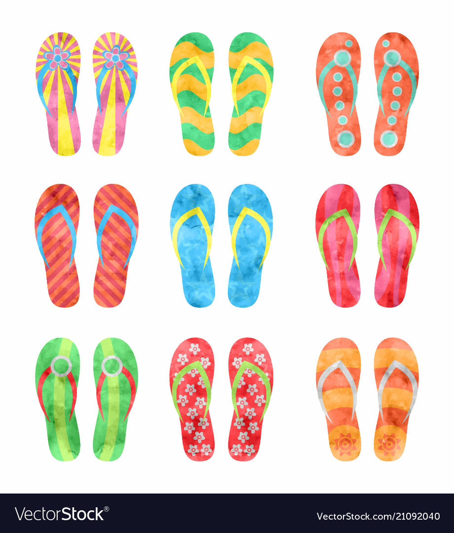 e7fd5d28a8e Colorful flip flops set in watercolor Royalty Free Vector