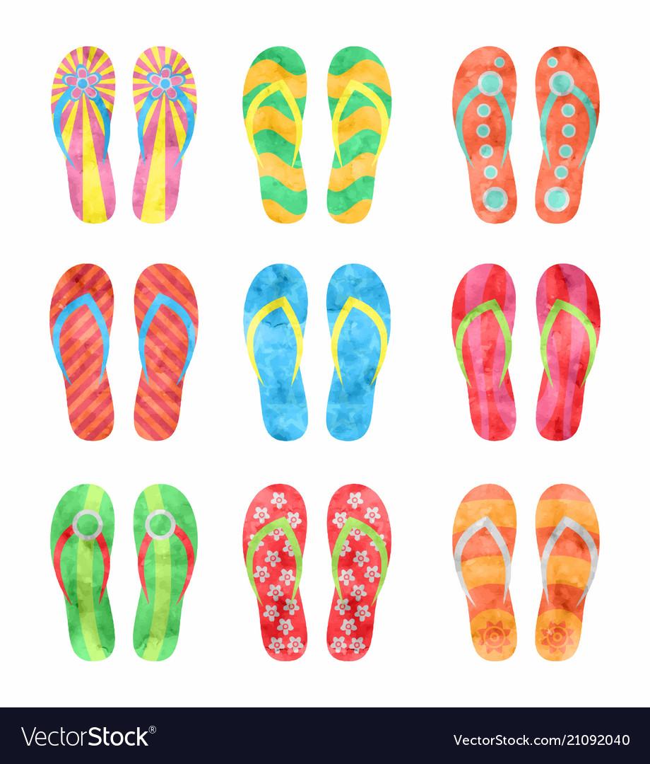 dd0fb2c0ec7c Colorful flip flops set in watercolor Royalty Free Vector