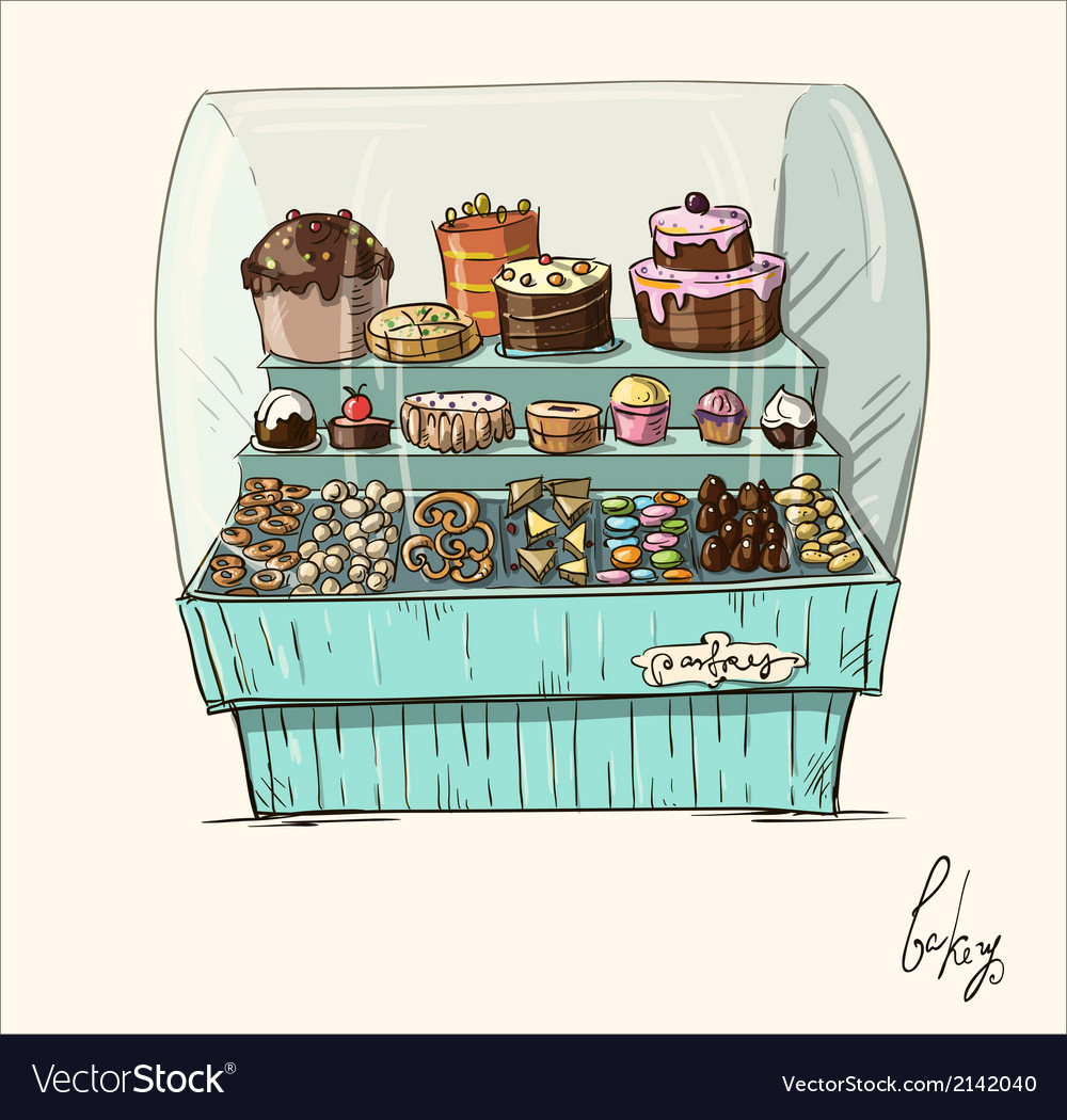 Hand drawn counter with bakery vector image